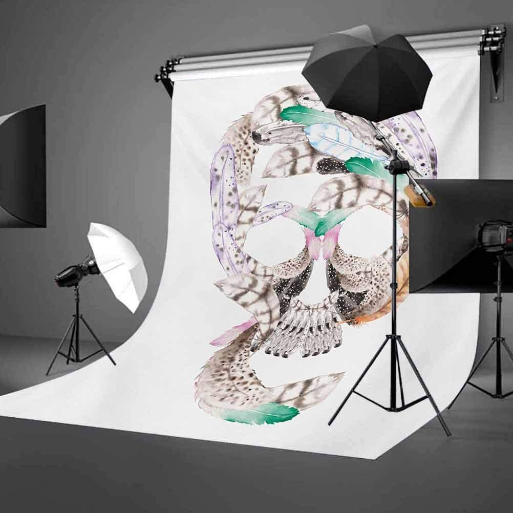 Feather 6.5x10 FT Backdrop Photographers,Human Skull Figure with Watercolor Feathers Hand Drawn Native Abstract Artistic Background for Child Baby Shower Photo Vinyl Studio Prop Photobooth Photoshoot