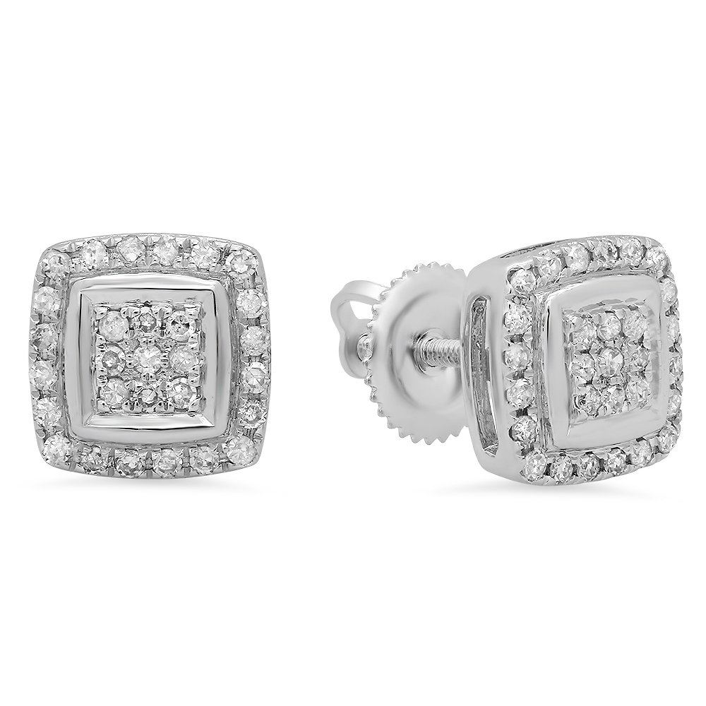 0.25 Carat (Ctw) 10k White Gold Round Cut White Diamond Ladies Stud Earrings by DazzlingRock Collection