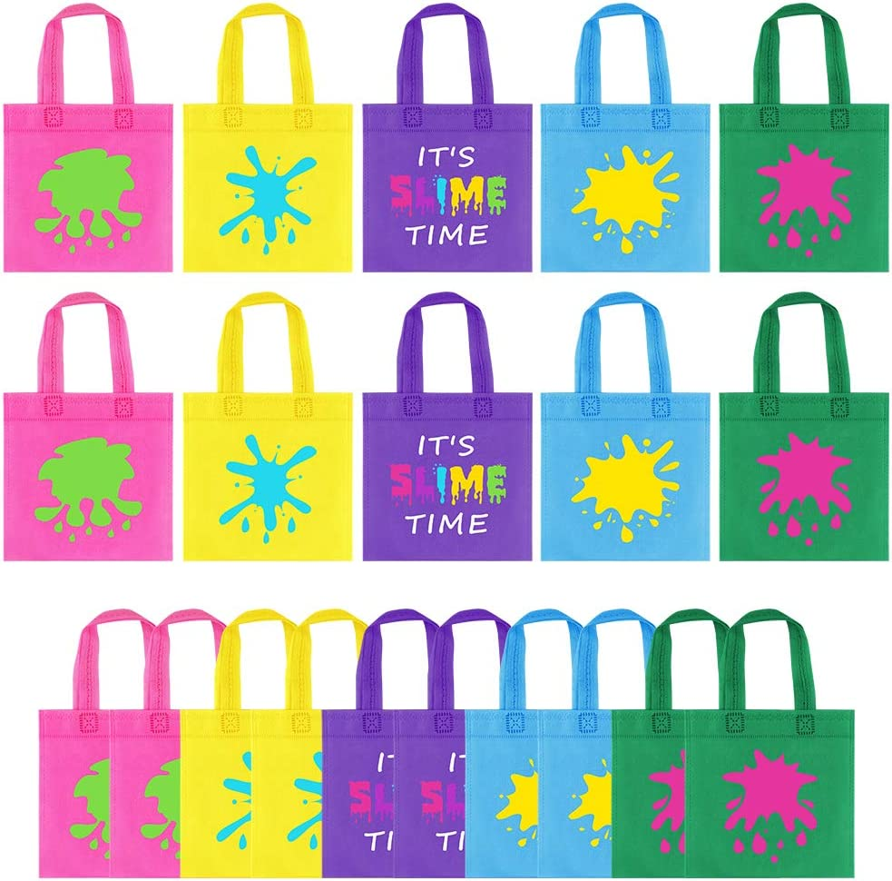 20Pcs Slime Birthday Favor Bag Decor - UTOPP It's Slime Time Party Gift bag,Non-woven Goody Bag,Slime King and Slime Queen Treat Candy Bag for Slime Party,Paint Art Party,Neon Glow Party Supplies