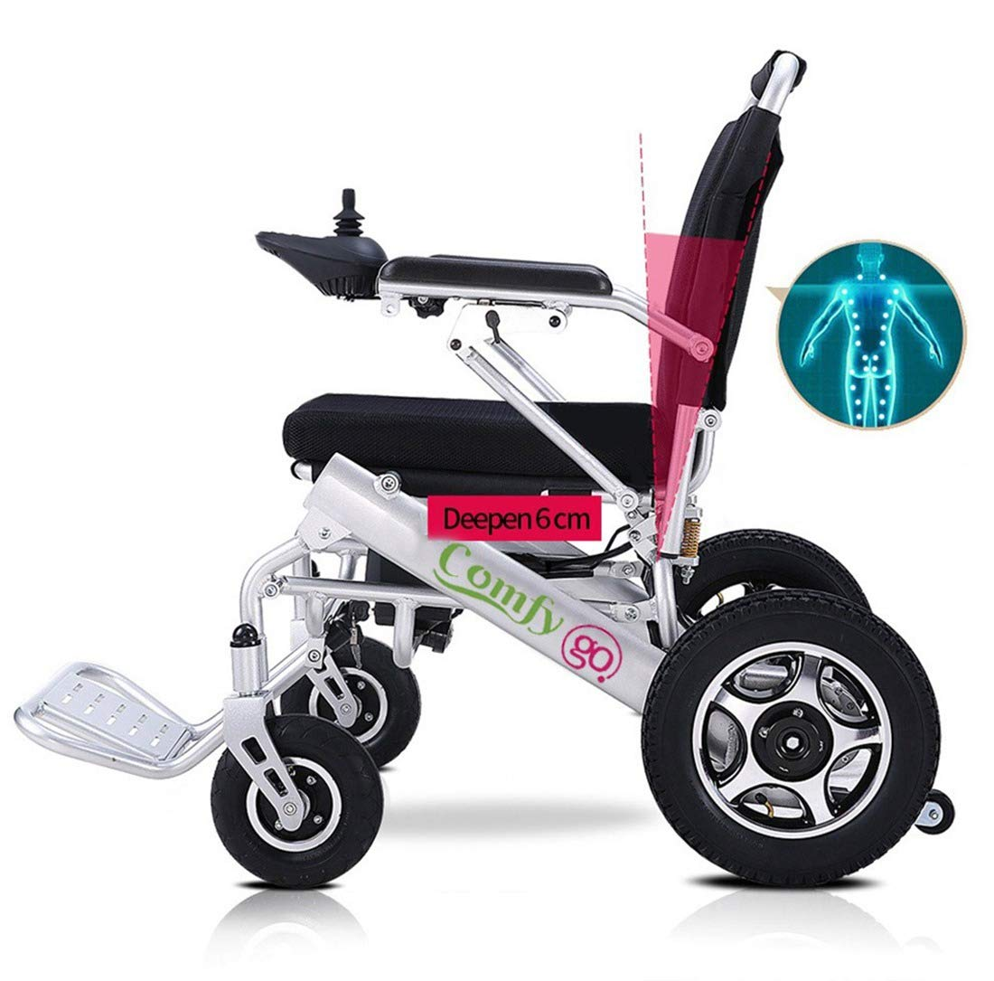 ComfyGO Electric Power Wheelchair Scooter Fold & Travel Lightweight Folding Safe Electric Wheelchair Motorized FDA Approved Aviation Travel Heavy Duty Power Wheelchair (Silver) by ComfyGO