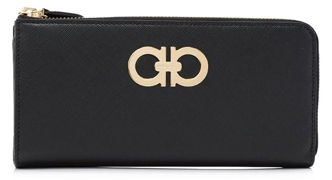 huge selection of 23ad8 ad23f Salvatore Ferragamo Double Gancio Zip Around Wallet (One size, Black ...
