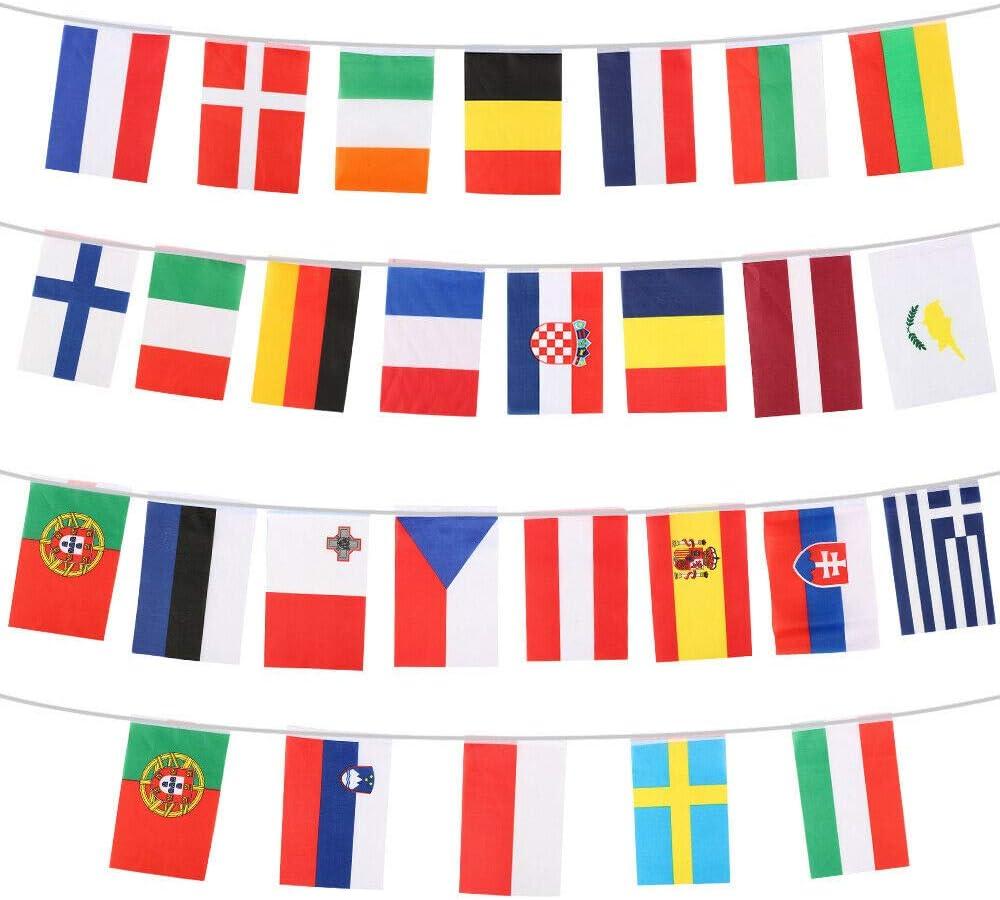 28 banderines de tela de la Unión Europea de las Naciones de Europa Eurovision de 10 metros: Amazon.es: Hogar