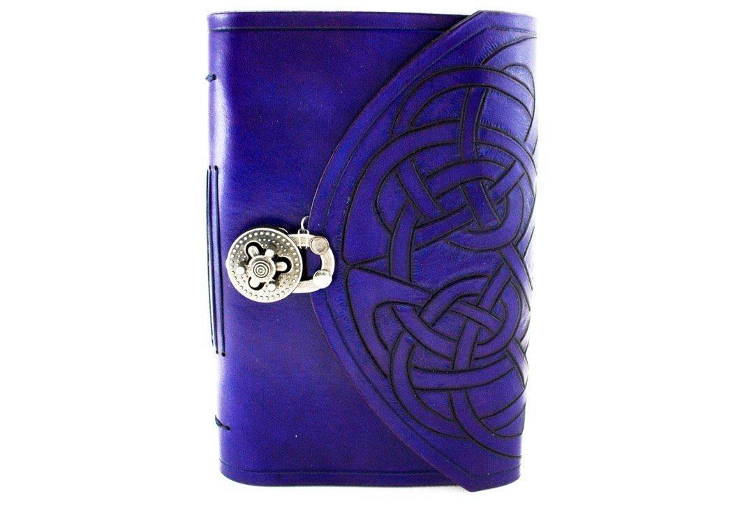 Celtic hand carved leather hand bound journal, Free initials!