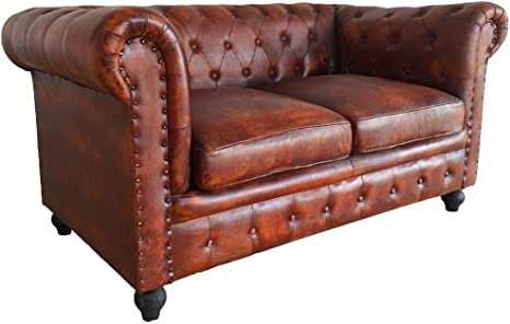 Wallace Sacks Leather Chesterfield 2 Seater Sofa Tan: Amazon