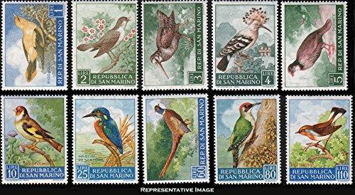 San Marino Scott 446-455 1L Golden Oriole, 2L Nightengale, 3L Woodcock, 4L Hoopoe, 5L Red-legged Partridge, 10L Goldfinch, 25L European Kingfisher, 60L Ringnecked Parttridge, 80L Green Woodpecker and (3l Post)