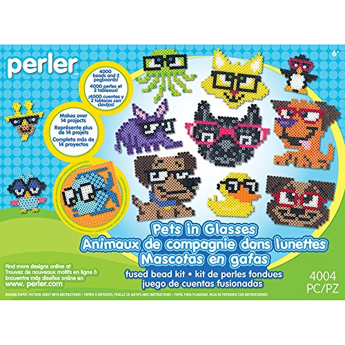 Perler Beads Pets in Glasses Animal Pattern Crafts for Kids, 4004 pcs