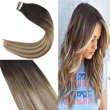 Sunny Extensions de Adhesive Cheveux Ombre Hair 22Pouces Marron Fonce a  Caramel Blonde avec Marron Tape
