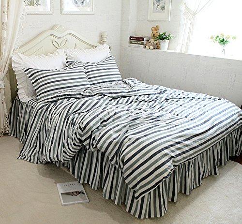 無地 ストライプ 男女兼用 寝具カバーセット 掛け布団カバー ベッドスカート 枕カバー B0761MHQYN キング キング