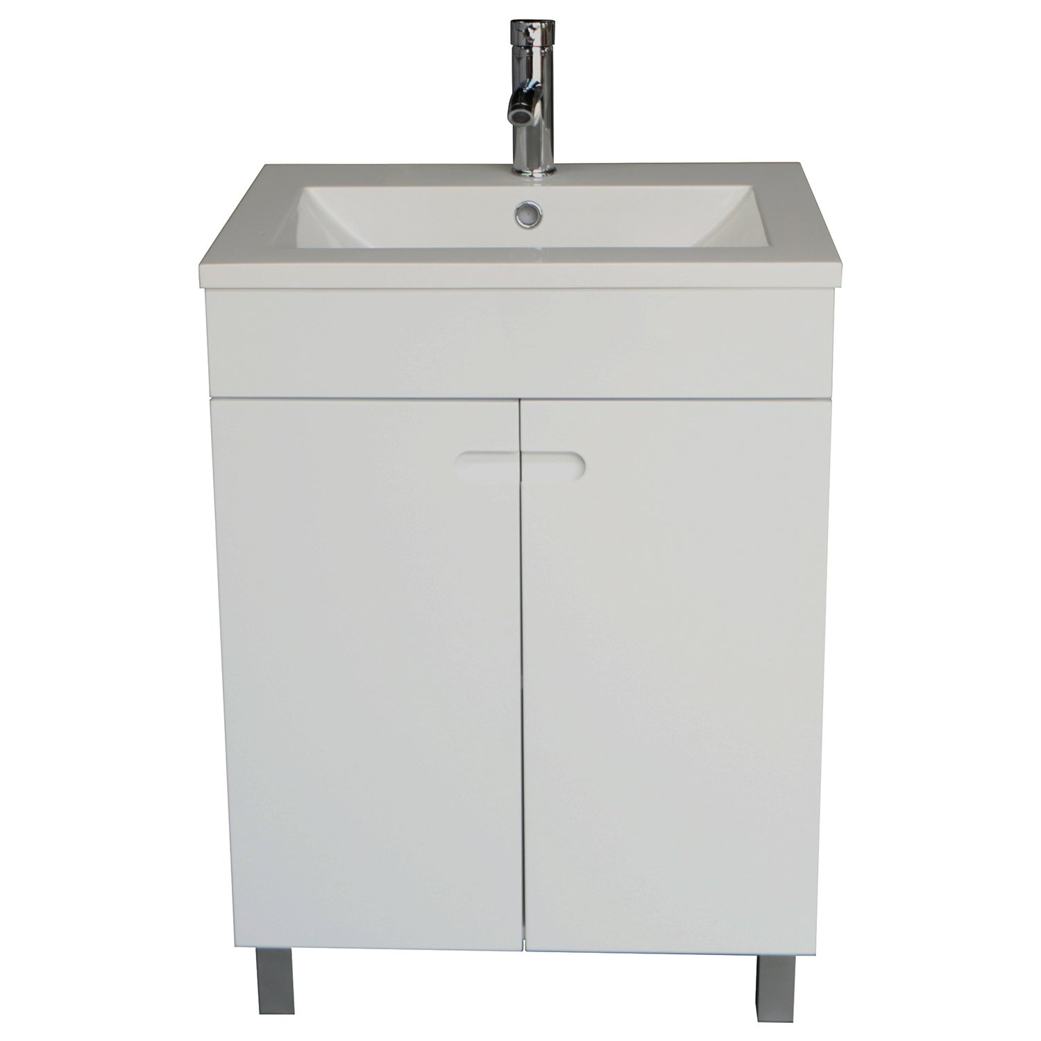 Sliverylake 24 Inch Solid MDF Wood Cabinet Storage Bathroom Vanity Top Vessel Sink Undermount in White with Faucet & Drain