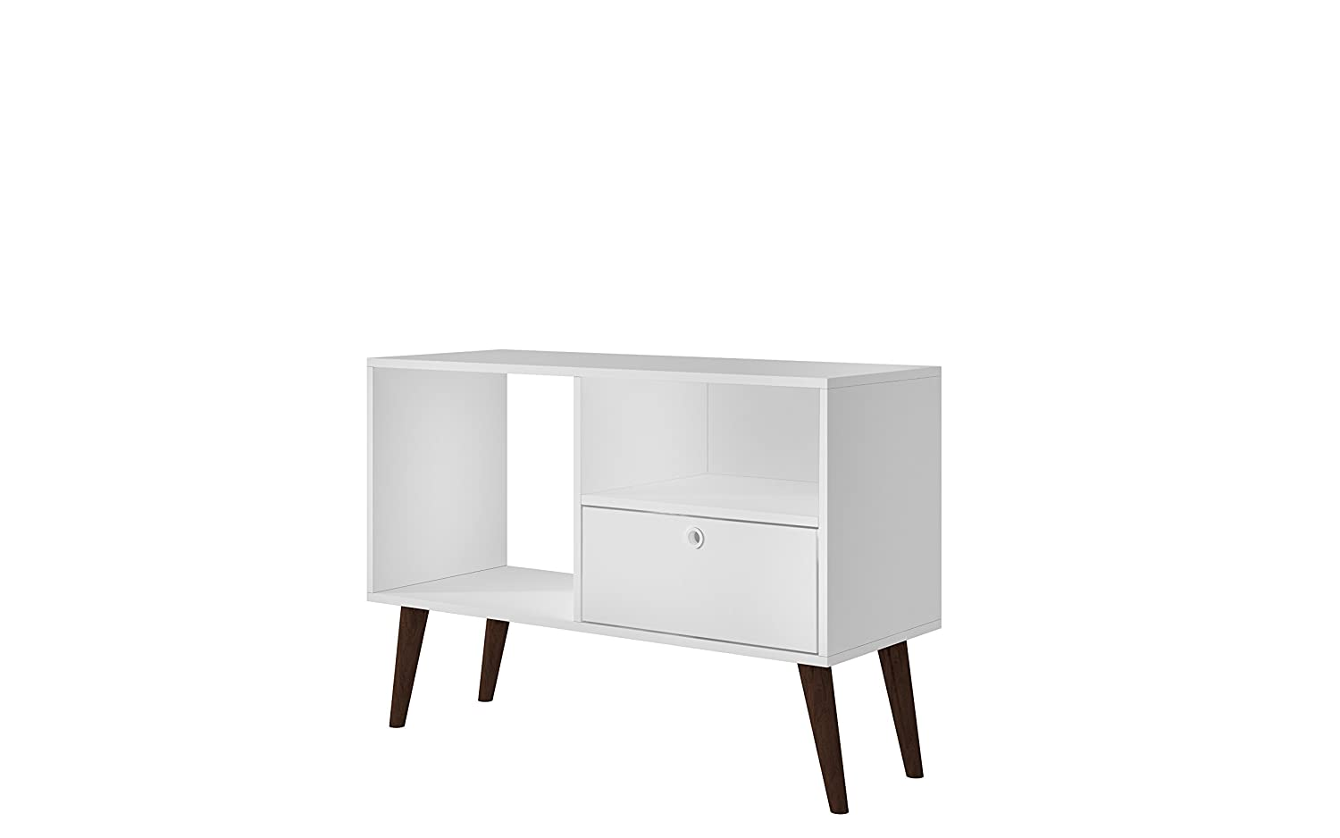 White Manhattan Comfort Bromma Collection Mid Century Modern TV Stand with Open Cubby Space and One Drawer with Splayed Legs, White