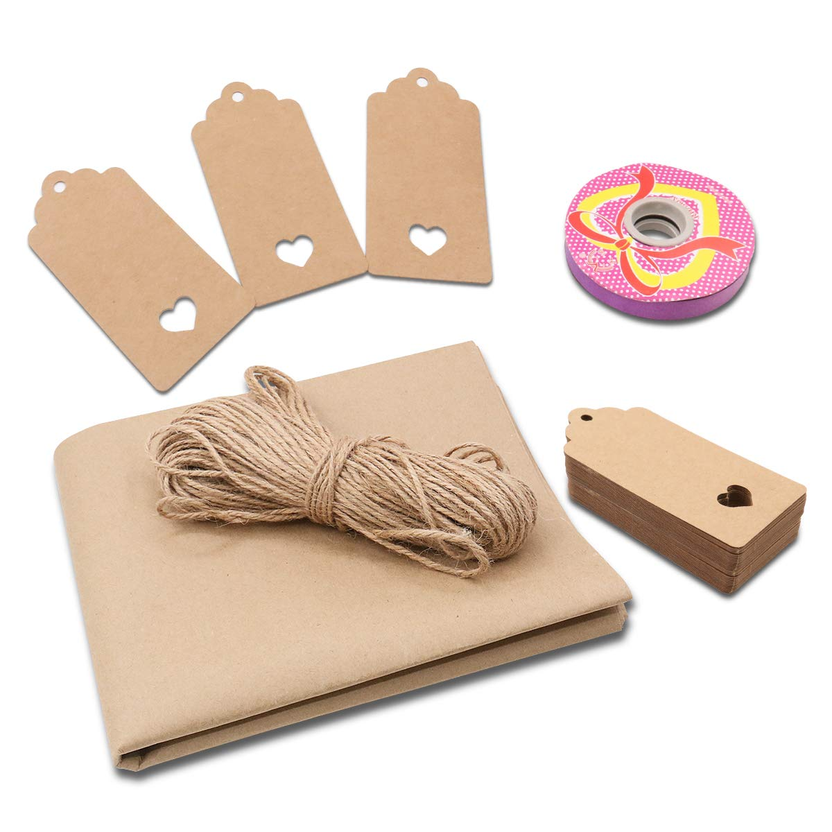 50 pcs Brown Kraft Paper tag with 100 feet Natural Jute Twine,Color Gift String for Wedding,Festival,Birthday Party Favors