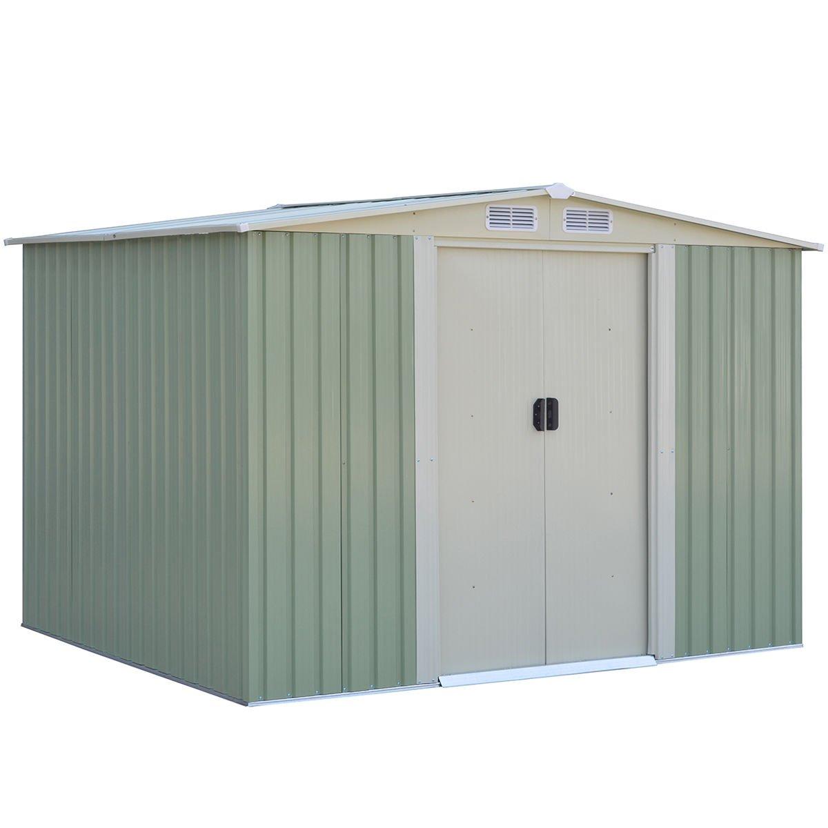 Goplus Galvanized Steel Outdoor Garden Storage Shed 6 x 8 Ft Heavy Duty Tool House W/ Sliding Door (Green)