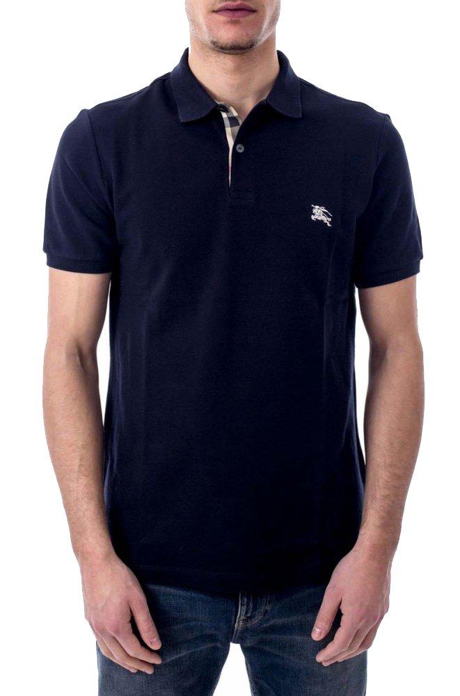 Burberry Brit Mens Short Sleeve Nova Check Placket Polo Shirt (Large, Dark Navy)