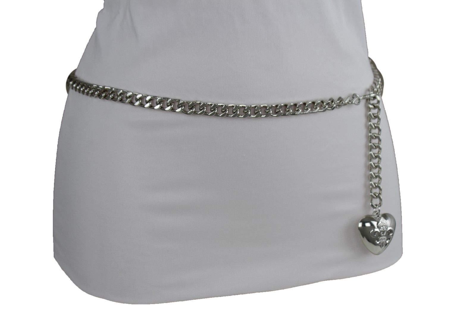 Women Hip Waist Silver Metal Chain Fashion Belt Love Heart Buckle Charm XS S M by RIX Fashion Luxury (Image #10)