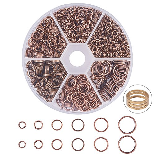 PandaHall Elite About 900 Pcs Iron Split Rings Double Loop Jump Ring Diameter 4-10mm for Jewelry Making Red Copper