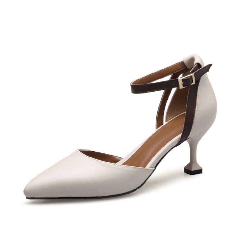 Huaishu Damen Sandalen Frauen Sandalen Seite leer Leder Anti-Rutsch-Schuhe Damen Mauml;dchen Schouml;ne Schuhe Coole Sandalen  EU36/UK35-4 Wei?
