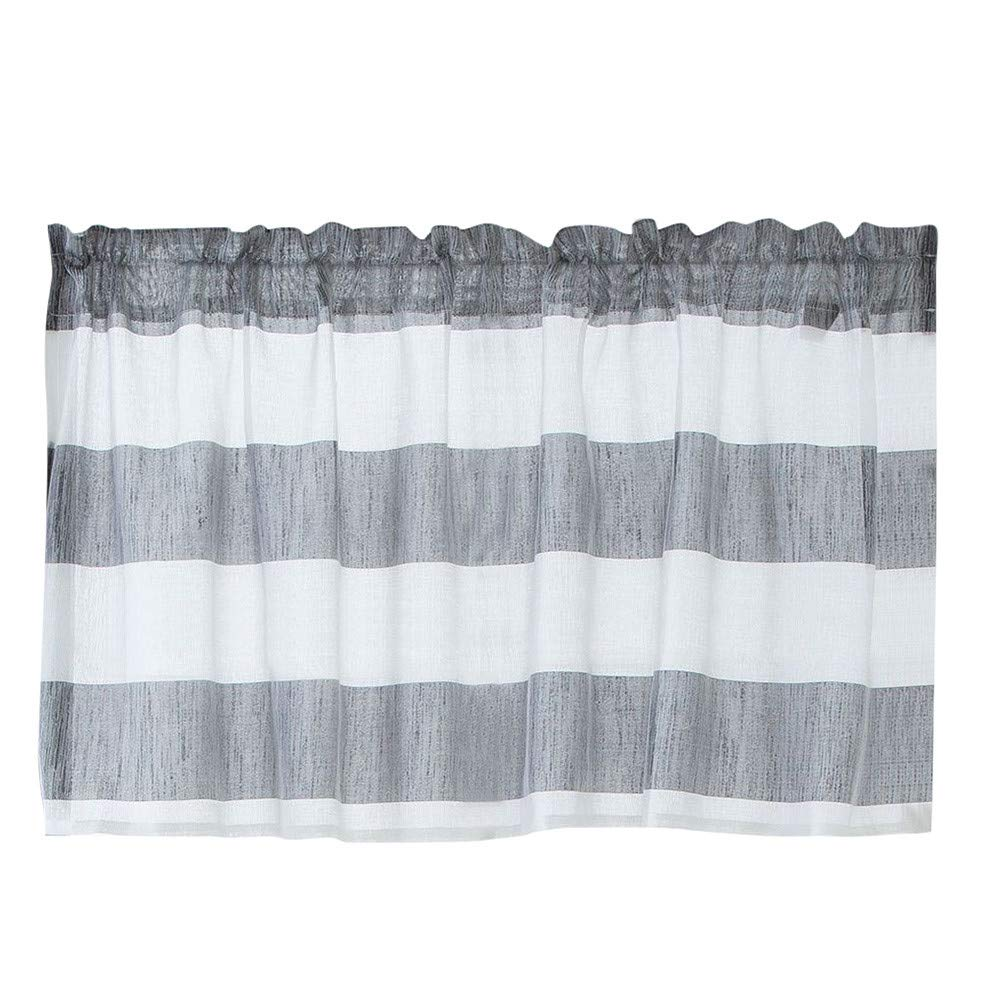 iumei Valance Blackout Curtains, Extra Wide and Short Window Curtains Treatment Kitchen Living Bathroom Bedroom Curtains Half Window Curtains(74 x 90 cm) (Gray)