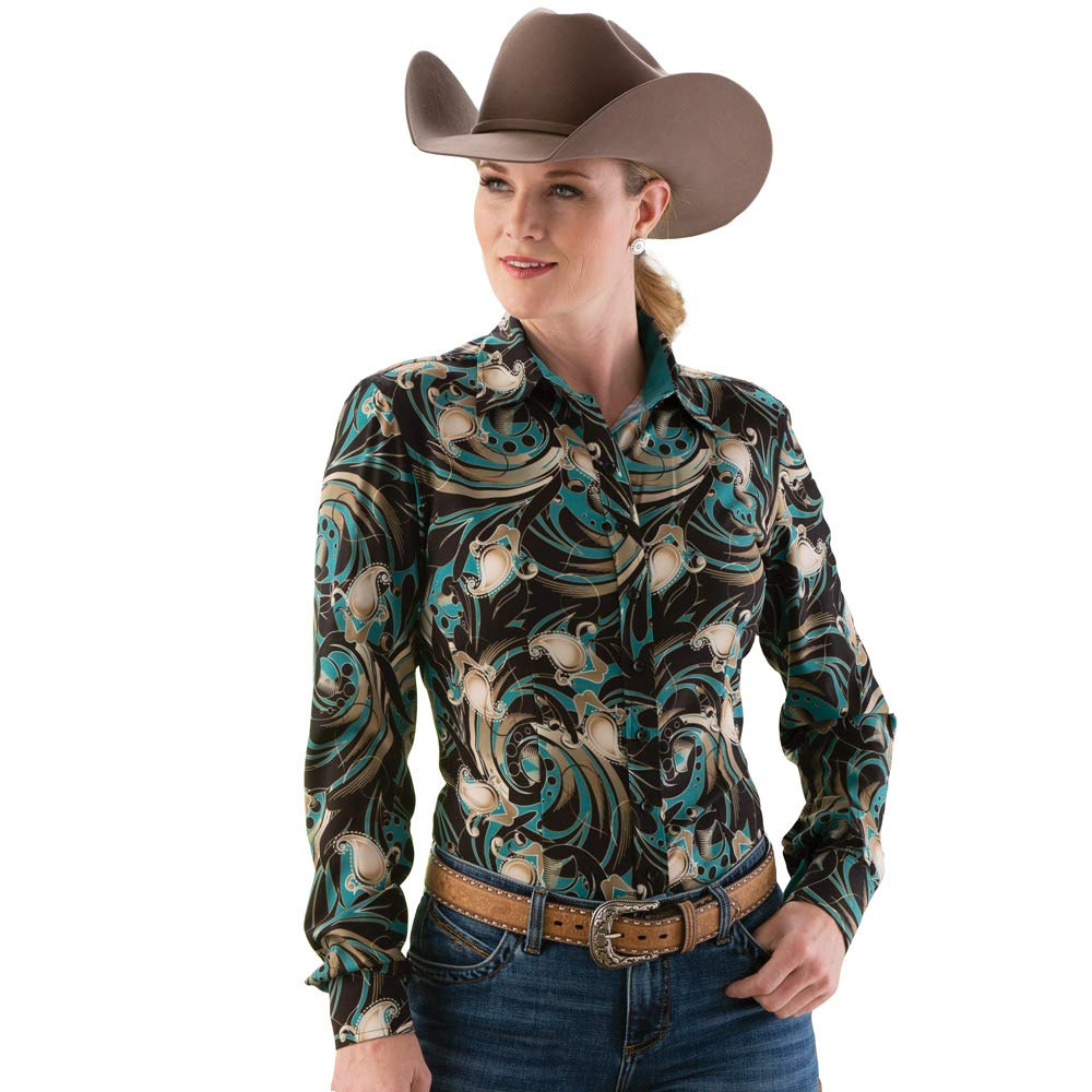 Rod's Western Paisley Print Show Blouse gold