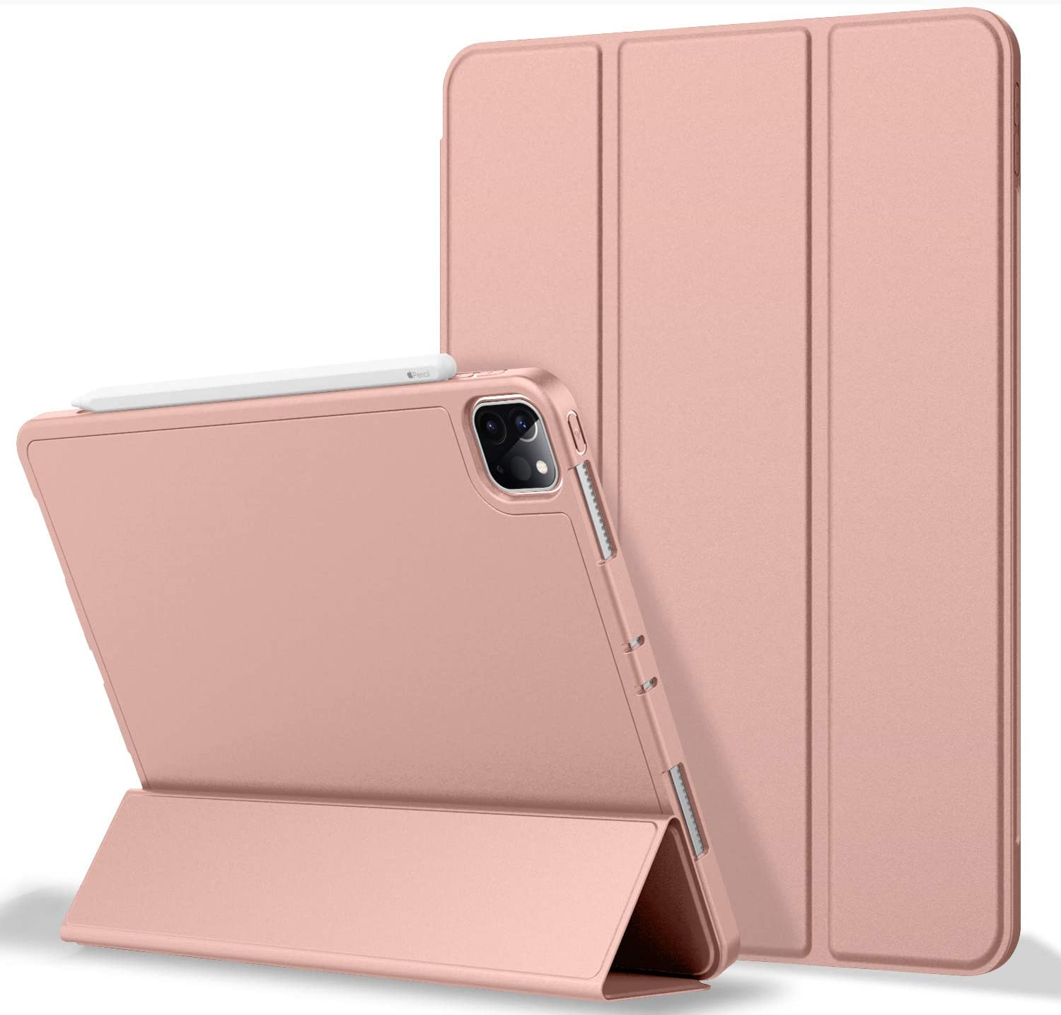 ZryXal iPad Pro 11 Case 2020 with Pencil Holder (2nd Generation), Premium Protective Case Cover with Soft TPU Back and Auto Sleep/Wake Feature for 2020/2018 iPad Pro 11 (Rose Gold)