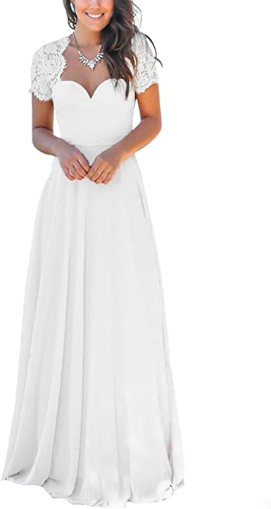 Yuxin Elegant Short Sleeves Lace Prom Party Gowns Long Open Backless Pink Chiffon Beach Wedding Dress At Amazon Women S Clothing Store,Used Monique Lhuillier Wedding Dresses