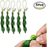 Fidget Toys, SnowCinda 5 PCS Squeeze-a-Bean Soybean Stress Relieving Keychain Mobile Chain Fidget, Green (Green - 5 Pcs)