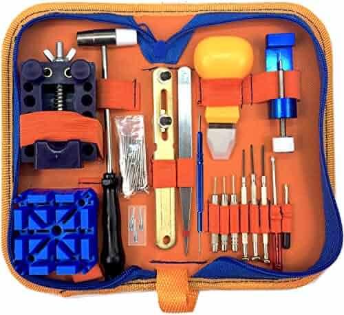 QwikFixxer Watch Repair Kit: 16 Universal Tools, Case Wrench, Watch Band Tool; Bonus Spring Bars