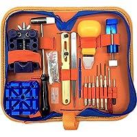 qwikfixxer Kit de reparación de reloj: 16relojero herramientas llave de, funda, banda de reloj herramienta incluye barras de resorte