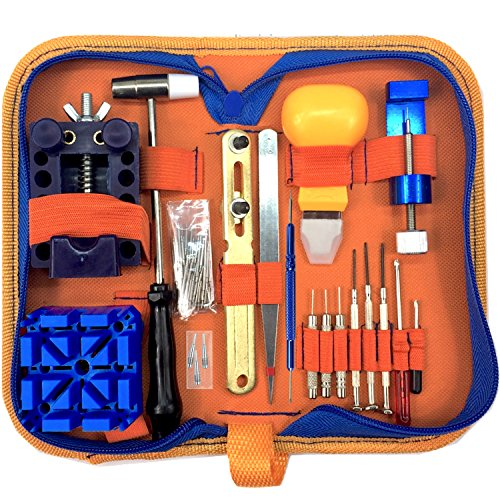 QwikFixxer Watch Repair Kit: 16 Universal Tools, Case Wrench, Watch Band Tool; Bonus Spring Bars