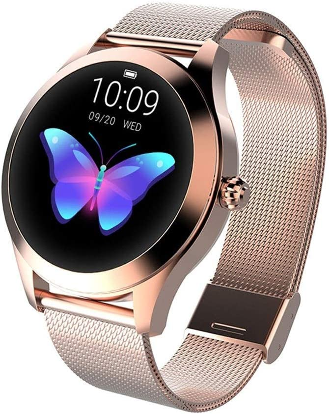 GFFTYX Inteligente Reloj KW10, Ronda Pantalla táctil IP68 a Prueba de Agua for la Mujer SmartWatch, rastreador de Ejercicios con el Ritmo cardíaco y el sueño podómetro, Pulsera for iOS/Android