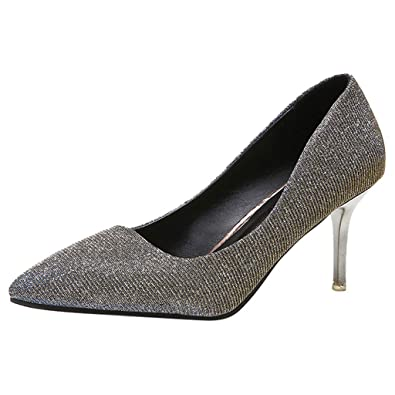b60d13a9f05 JIANGfu Women Sequins Stiletto Single Shoes, Ladies Casual Shallow Mouth  Slip-On Pointed Toe
