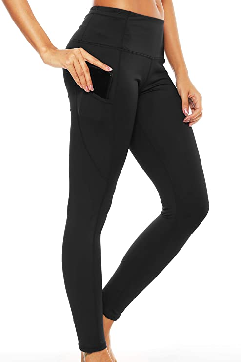 GRAT.UNIC Mallas Deportivas de Mujer, Mujer Pantalones elásticos de Yoga con Bolsillos Laterales, Polainas de Yoga Fitness (Negro, XL)