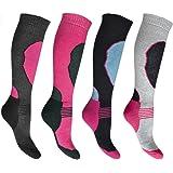 4 Pairs High Performance Girls Ski Socks Long Hose Thermal Socks ( 9 - 12 & 12 - 3 )