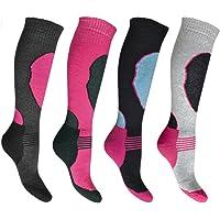 4 Pairs High Performance Girls Ski Socks Long Hose Thermal Socks (9-12 & 12-3)