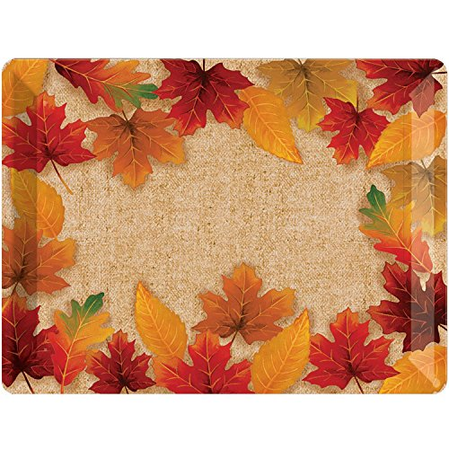 (Pack of 12 Orange and Red Fall Leaves Printed Plastic Tray 13.98