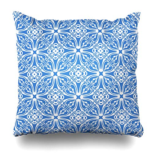 (Ahawoso Decorative Throw Pillow Cover Fancy Solid Abstract Royal Blue Color Rich Watercolor Announcement Antique Artistic Baby Design Home Decor Zippered Square Size 18
