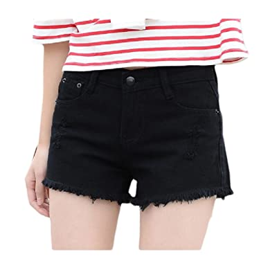 Abetteric Women Assymetry Highwaist Loose Fit Holes Slim Fit Hot Shorts Jeans Black S
