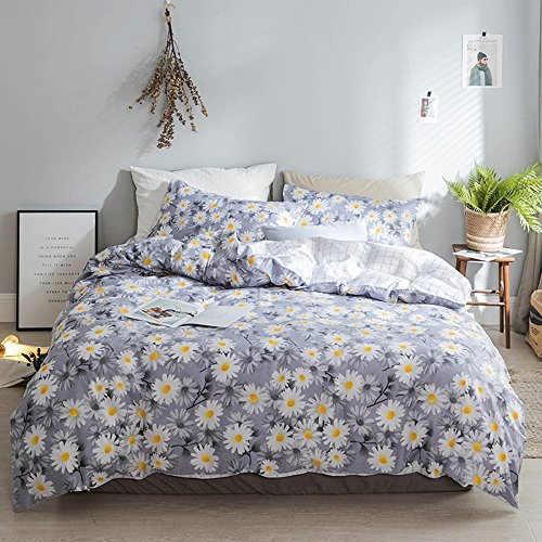 - AMWAN Vintage Floral Girls Duvet Cover Set Full Queen Luxury Flower Print Kids Bedding Set Cotton Reversible Plaid Duvet Cover and Pillowcases 3 Piece Teens Children Women Bedding Cover Set, Style5