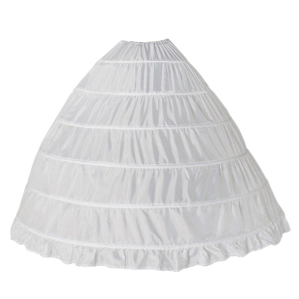 Generic Women\'s 6 Hoop Wedding Ball Gown Bone Crinoline Petticoat ...