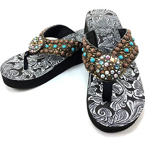 Womens Concho (Western Peak Women's Full Rhinestones Round Concho Bronze Brown Turquoise Flip Flops Sandals)
