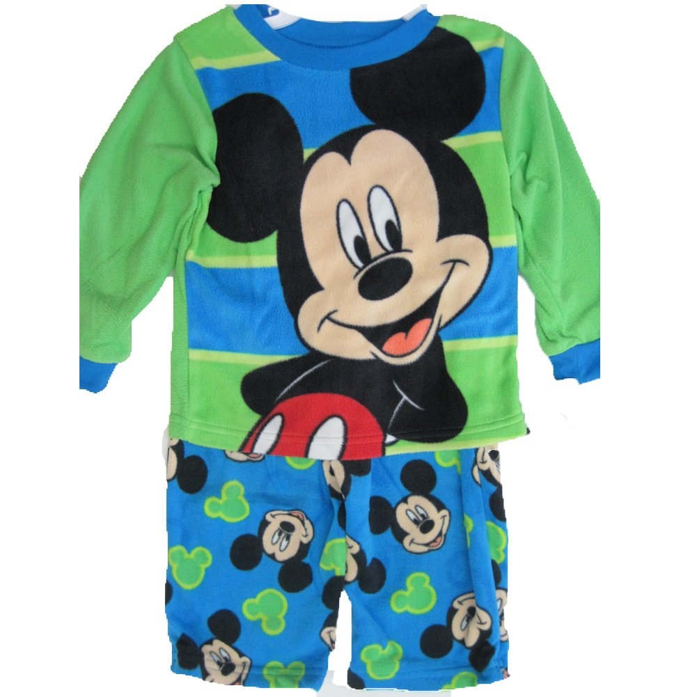 Disney Little Boys Green Blue Mickey Mouse Printed 2 Pc Pajama Set 2T-4T