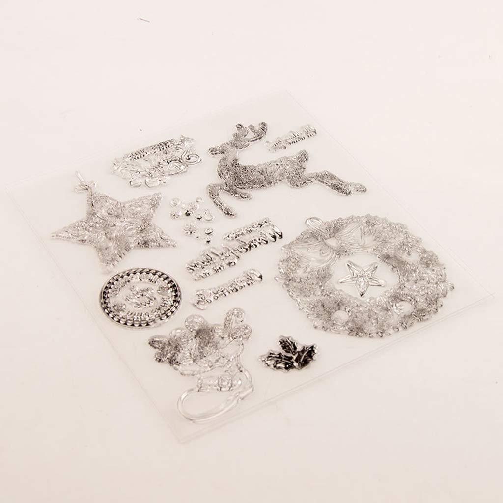 Mr.Better Weihnachten Transparenter Silikon Stempel mit kreativen Bildern f/ür Scrapbooking und Dekoration