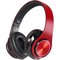 QLtech Bluetooth Headphone Over-Ear, Wireless Headset with Microphone & Cool Led Light, Portable & Foldable, Noise Reducing Stereo Headphones for iPhone iPod PC Laptop TV Mp3 Gaming(Red Black)