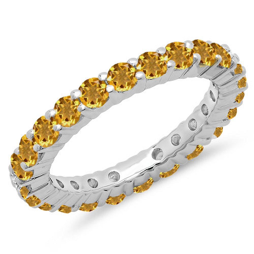 1.00 Carat (ctw) 14K White Gold Round Citrine Ladies Eternity Wedding Stackable Band (Size 7.5)
