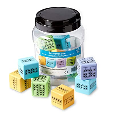 hand2mind Math Activity Dice Set, Foam Ten-Frame Math Dice For Kids Ages 4-8, Ten-Frame On All Side, Kids Dice For Counting And Subitizing, Early Math Homeschool Supplies (Set of 12): Industrial & Scientific