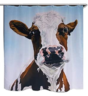 Eco Friendly Funny Milk Cow Dairy Cattle Farm Animal Printed Fabric Shower Curtain Polyester Waterproof Bathroom