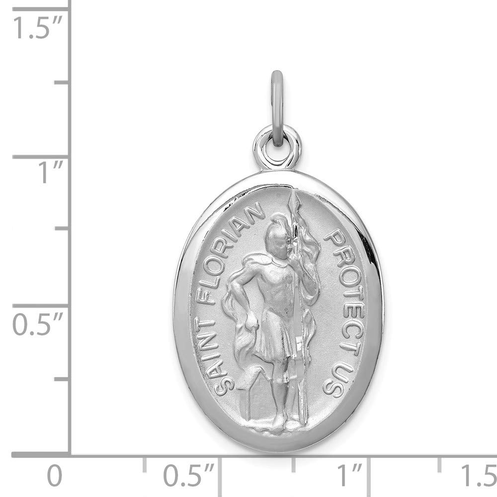 Jewel Tie Sterling Silver Saint Florian Medal 1.38 in x 0.79 in