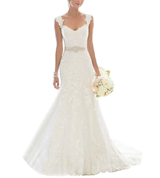 9b47df30acaf Changjie Women s Lace Wedding Dress  Amazon.co.uk  Clothing