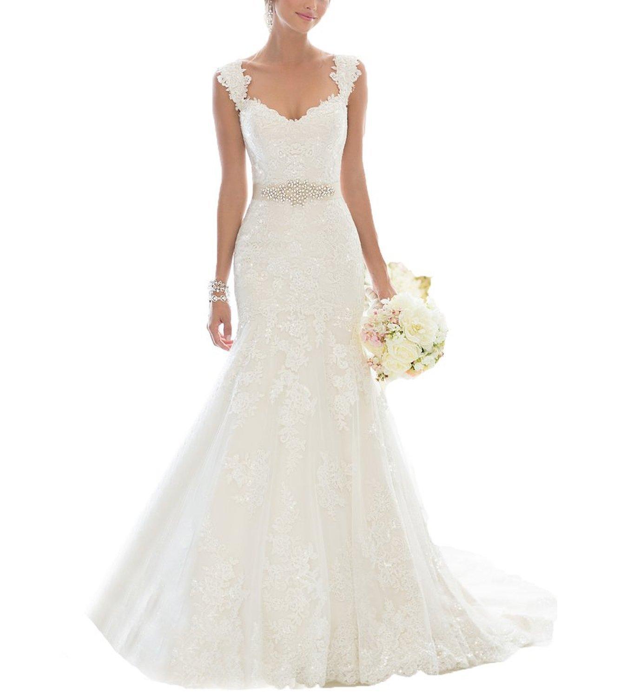 Fanciest Women's Mermaid Lace Wedding Dresses for Bride 2017 Bridal Gowns US10