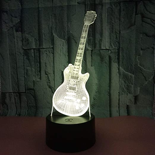 Laizs Luz Nocturna 3D Led 7 Colores Interruptor Táctil Base De Abs Luz De Humor Decoración Luz De Ilusión Óptica Regalo para Niños Guitarra: Amazon.es: Hogar