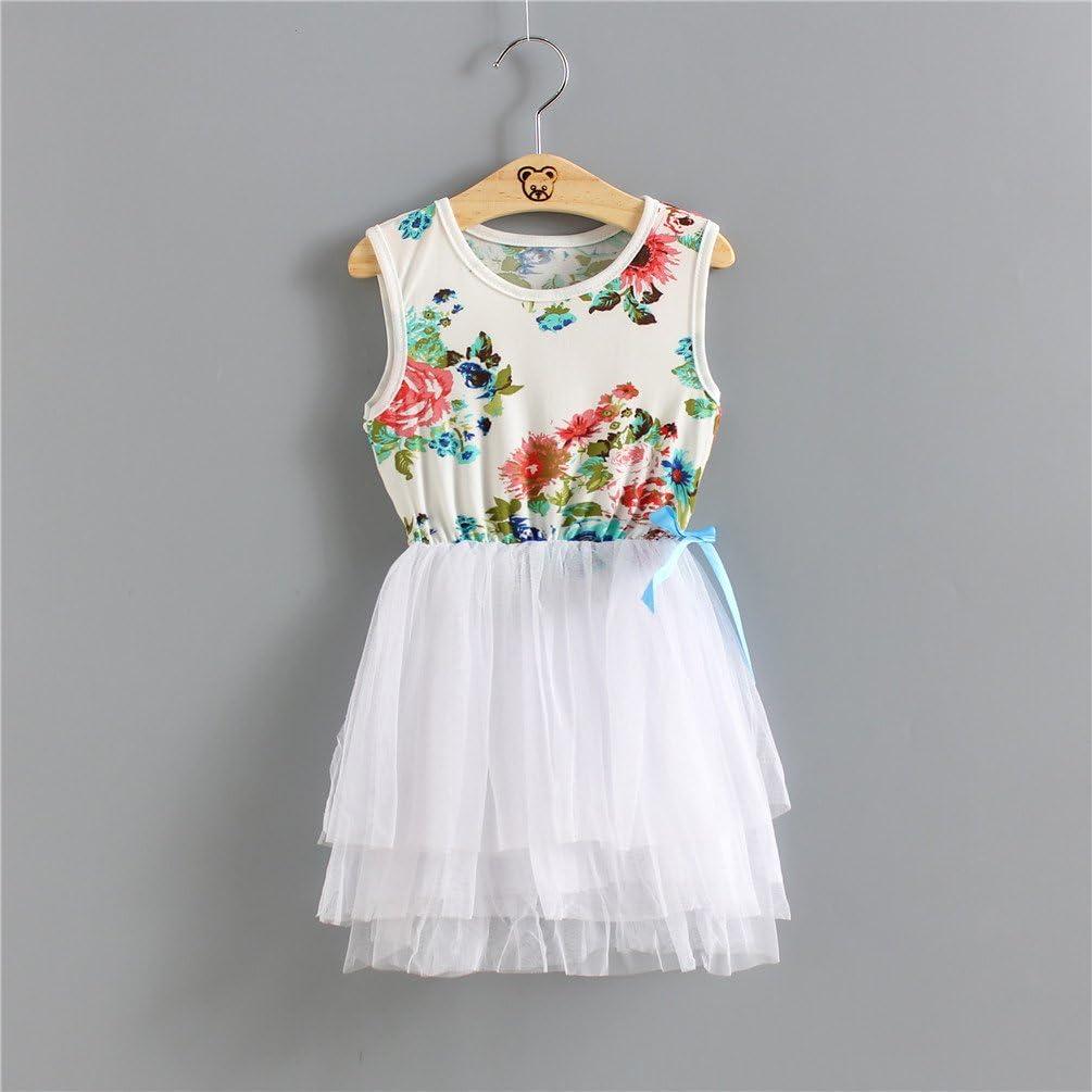 Size 12M-5T Csbks Toddler Kids Cute Floral Sundress Tulle Tutu Skirt Baby Girls Dress